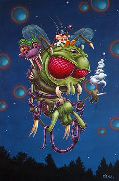 Sac de Noeuds (Gromflomites) - 81 x 54 cm -  Acrylique sur toiles - Gilen - 2017 #gilen #lowbrow #popculture #popsurrealism #cartoon #paintings #art #pop #gromflomites #rickandmorty #kaa #mutantkaa #mutant #nibbler #oggy #villains #vilains #gilenbousquet #gilenart