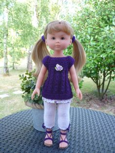 Ravelry: Robe for Les Cheries pattern by marieetlaines Crochet Doll Clothes, Knitted Dolls, Crochet Dolls, Free Crochet, Knit Crochet, 18 Inch Doll, Girl Dolls, Rag Dolls, Crochet Accessories