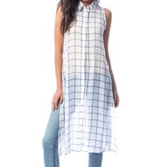 Tunic windowpane top White, checkered, sheer long tunic top. Runs true to size, 100% polyester, georgette. Navy windowpane. S,M,L.  Please message me your size and I will post a separate listing. Tops Tunics