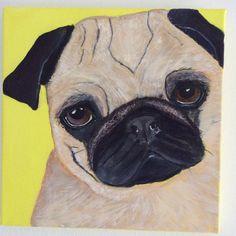 Mixed media painting Pug Dog 30cm x30cm j.bruguera@hotmail.co.uk