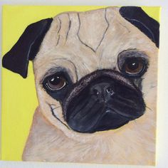 Mixed media painting Pug Dog 30cm x30cm j.bruguera@hotmail.co.uk