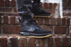 NIKE LUNAR AIR FORCE 1 DuckBoot Black Wheat Gum DUCK BOOT 805899 003 LIMITED #Nike #AthleticSneakers