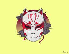 japanese tattoos symbols and meaning Drawn Mask, Kitsune Mask, Wolf Mask, Mask Drawing, Aesthetic Japan, Masks Art, Japanese Prints, Japan Art, Cultura Pop