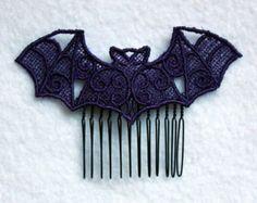 Gothic Lolita Pastel Goth Lace Bat Hair Comb on Black