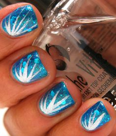 Karine's Vernis Club: Firework nails- Tutorial: two coats of OPI Catch Me In Your Net, one coat of Kleancolor Blue-Eyed Girl, adding fireworks with a silver striping polish