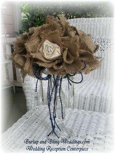 Custom Burlap, Roses and Rhinestones Wedding Ceremony Reception Flower Centerpiece. $40.00, via Etsy.