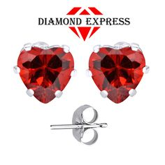 """1.5 Ct Garnet Heart Cut 14K Gold 6 Prong Stud Earrings 5mm """"Mother\'s Day Gift"""". Starting at $1"""