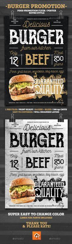 Burger Promotion Flyer Poster  — PSD Template #burger #8.3x11.7 • Download ➝ https://graphicriver.net/item/burger-promotion-flyer-poster/18543986?ref=pxcr