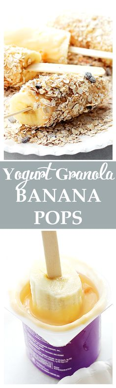 Yogurt Granola Banana Pops - Frozen bananas dipped in fruit-yogurt and covered in granola. One of the best snacks, evah! Get the recipe on diethood.com