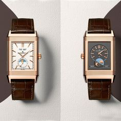 The Jaeger-LeCoultre Reverso Tribute Calendar watch features a complete calendar with Moon phase indicator on one dial, and a second time zone with day and night display on the reverse. Discover the iconic watches for men: http://www.thejewelleryeditor.com/watches/iconic-watches-for-men-cartier-omega-tag-heuer/