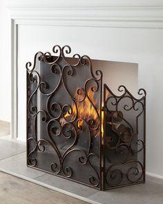 metal fireplace screens. Kora Fireplace Screen Tuscan Scroll Wrought Iron  iron