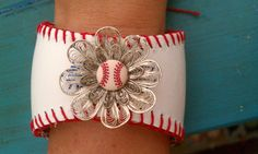 Hey, I found this really awesome Etsy listing at https://www.etsy.com/listing/187820407/baseball-cuff-bracelet-adorable-with