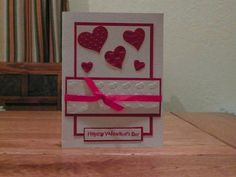 Valentine card embossed with hearts. by Cardsdesignedbymary