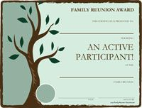 Free Printable Awards for the Family Reunion