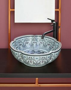 The luxury porcelain countertop basin specialist. An extensive range of handmade & highly decorative sinks for the bathroom & cloakroom. Vanity units & accessories available. Moroccan Bathroom, Oriental Pattern, Vanity Units, Bathroom Basin, Bathroom Storage, Moorish, Unique Flowers, Flower Shape, Bathroom Interior Design