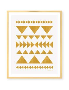 Gold Geometric Art Print [ digital matte brushed gold triangles with a white background - not metallic ink ]    Perfectly chic to frame anywhere!