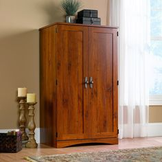 Harvest Mill Computer Armoire in Abbey Oak - Sauder 404958404958 Features: Space-saving cabinet conceals monitor, printer, CPU, speakers, and CDsSlide-out keyboard/mouse shelf and printer shelf with metal runners and safety stopsDedicated storage area acc Space Saving Computer Desk, Oak Computer Desk, Computer Armoire, Desk Space, Office Office, Home Office Desks, Home Office Furniture, Bedroom Office, Office Ideas
