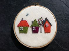 Hand Embroidered Pure Wool Felt Hoop Art A Room with a by mlmxoxo