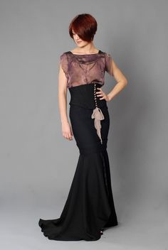 I love the the shape of this skirt or rather skirts - pencil with a maxi under it.
