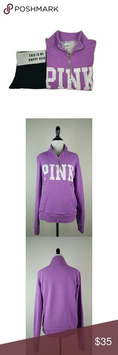 "Victoria's Secret Pink Quarter Zip Sweatshirt Victoria's Secret Pink Quarter Zip Sweatshirt. The Pink logo has some wash and wear and the dog graphic has been washed off but is still visible. Please see detailed pictures.  Size: S 56% Cotton, 37% Polyester, 7% Viscose  Approximate measurements laying flat: Length- 23 1/4"" Underarm to underarm- 19 1/4"" PINK Victoria's Secret Tops Sweatshirts & Hoodies"