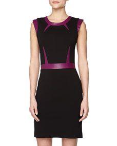 Top Framed Leather Sheath Dress, Black