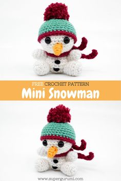 Crochet Snowman, Crochet Christmas Ornaments, Holiday Crochet, Christmas Knitting, Crochet Gifts, Cute Crochet, Free Christmas Crochet Patterns, Crochet Patterns Amigurumi, Crochet Dolls