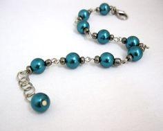 Teal pearl link bracelet dark aqua bracelet wire by LaylasTrinkets, $18.00