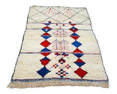 8'X5' ft / Handmade Moroccan rug Beni Ourain 100  Percent Wool / Azilal Rug / Boucherouite Rug / Beni Ouarain / Moroccan Kilim