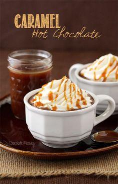 Caramel Hot Chocolate with lots of homemade caramel sauce