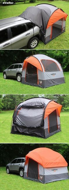 Turn your SUV, crossover or minivan into a camper with a vehicle tent! Tent stays standing and ready for camping even when your vehicle is detached. An economical alternative to a camper. The tent connects to your vehicle to add more living and sleeping space for camping. #campingadventure #carcampingideassleepawesome #carcampingsuvideas