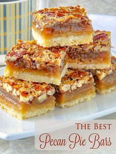 The Best Pecan Pie Bars. This easy recipe includes a simple shortbread bottom and a one bowl mix & pour topping. Tips for baking and cutting them are included.#cookies #christmas #christmascookies #christmasbaking #holidaybaking #holidayfood #cookiebars