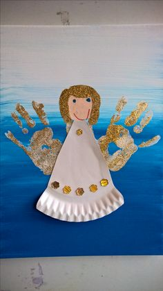 Handabdruck Engel mit Pappteller Kleid. /. handprint angel with paperplate robe