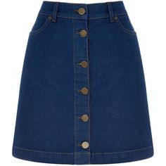 OASIS The Denim Skirt ($45) ❤ liked on Polyvore featuring skirts, mini skirts, bottoms, saias, faldas, denim, blue mini skirt, short mini skirts, a line denim skirt and short summer skirts