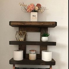Items similar to Wood Towel Rack, Rustic Shelving, Bathroom Towel Bar on Etsy Bathroom Wood Shelves, Wooden Crate Furniture, Small Bathroom, Diy Bathroom Decor, Wood Bathroom, Wooden Plugs, Shelves, Towel Shelf, Rustic Bathroom Shelves