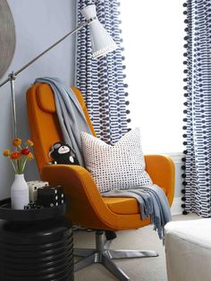 Annie selke links + Ikea pillow + womb chair | Sarah Richardson..love the pom pom edge on these cute curtains