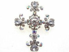 Silver Tone Cross Antique Inspired Gorgeous Rhinestones Costume Brooch Pendant Alilang. $8.99. Save 25%!