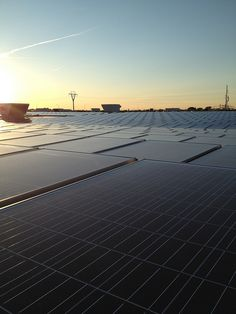 """Our solar array at sunset... We """"flipped the switch"""" in mid-August. Hooray for alternative energy!"""