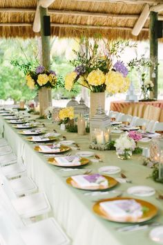 A Romantic Lavender and Yellow Wedding tablescape