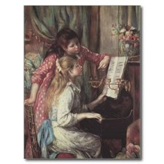 Young Girls at the Piano, Renoir Impressionism Art Postcards