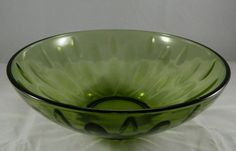 "Vintage Green Glass 9"" Fruit Bowl Serving Transfer Compote Bubble Dish"