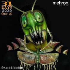 """October 26th finalist @natali.faceart Thank you to our friends at @MehronMakeup Artist Inspo: """"Imagine for a moment that grasshoppers were human size! You can't hide from them you can't run. Every night would be a nightmare because these insects hunt exclusively at night! Their grinding would break the glass in the windows...horror!"""" Products used: Bruise Ring Clown White Lite Colorset Powder Metallic Powder Synwax Stage Blood and Paradise Makeup AQ #mehronmakeup #grasshoppermakeup… Creepy Makeup, Mehron Makeup, Professional Makeup, Halloween Makeup, Illusions, Horror, Grasshoppers, 31 Days, Costumes"""