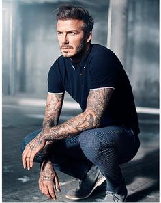 Polo Shirt and Checked Jeans, David Beckham for H&M, Men's Spring Summer Fashion.