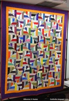 """~ Strip Twist!  A fast and easy strip quilt made from 2.5"""" strips! This block is easier than it looks and you only need 12 blocks to finish this lap quilt."""
