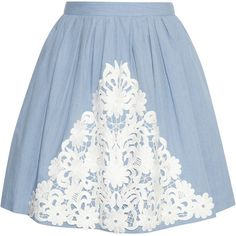 Boutique Moschino Lace-appliquéd cotton-chambray skirt ($280) ❤ liked on Polyvore featuring skirts, bottoms, saias, gonne, light denim, chambray skirt, cotton lace skirt, lace skirt, pleated lace skirt i blue pleated skirt