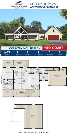 Complete with 1,677 sq. ft., Plan 940-00257 offers a Country home design detailing 2 bedrooms, 2.5 bathrooms, a kitchen island, an open floor plan, a screened-in porch, a bonus room, and a mudroom. #countryhome #vaultedceiling #architecture #houseplans #housedesign #homedesign #homedesigns #architecturalplans #newconstruction #floorplans #dreamhome #dreamhouseplans #abhouseplans #besthouseplans #newhome #newhouse #homesweethome #buildingahome #buildahome #residentialplans #residentialhome Country House Design, Country House Plans, Best House Plans, Dream House Plans, Building Plans, Building A House, Dormer Windows, Screened In Porch, New Construction