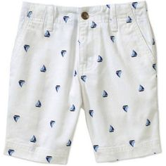 Faded Glory Boys' Flat Front Printed Shorts, White