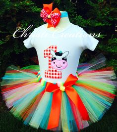 CowFarmBarnyard1st Birthday Tutu SetBaby Girl by ChristiCreations, $63.95