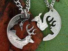 Buck and Doe Necklace, Couples Necklaces, Interlocking Relationship set, hand cut coin