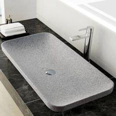 Lookout for Ivins Stone Rectangular Vessel Bathroom Sink Stone Bathroom Sink, Stone Sink, Modern Bathroom, Master Bathroom, Master Master, Bathroom Mirrors, Bathroom Cabinets, Sink Design, Bathroom Pictures