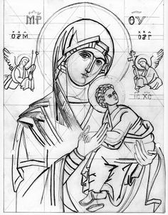 Cartoon for Christmas 2004: Theotokos of the Passion  Anyone is welcome to download, copy and use this cartoon to paint this icon  other iconography cartoons